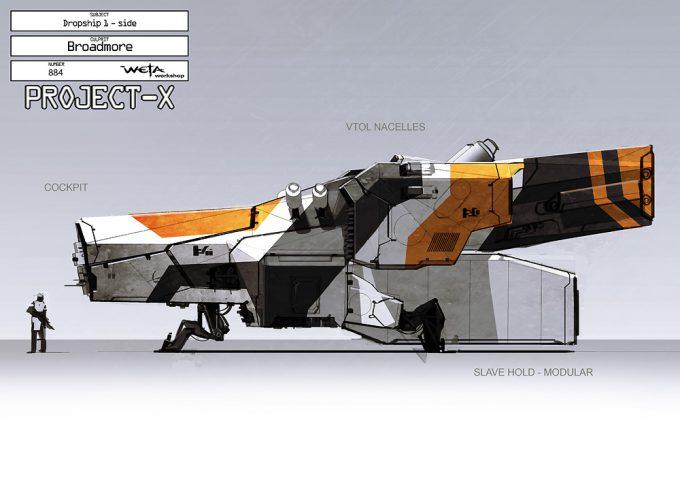 District 9 Concept Art Greg Broadmore Weta Workshop Design Studio Dropship Side Fin