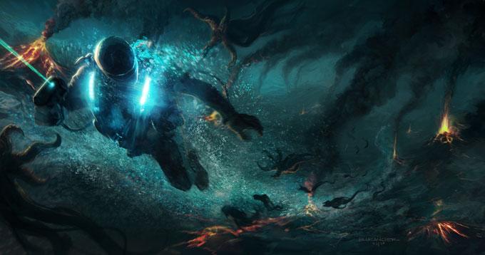 François Baranger Concept Art THE DEEP Underwater chase
