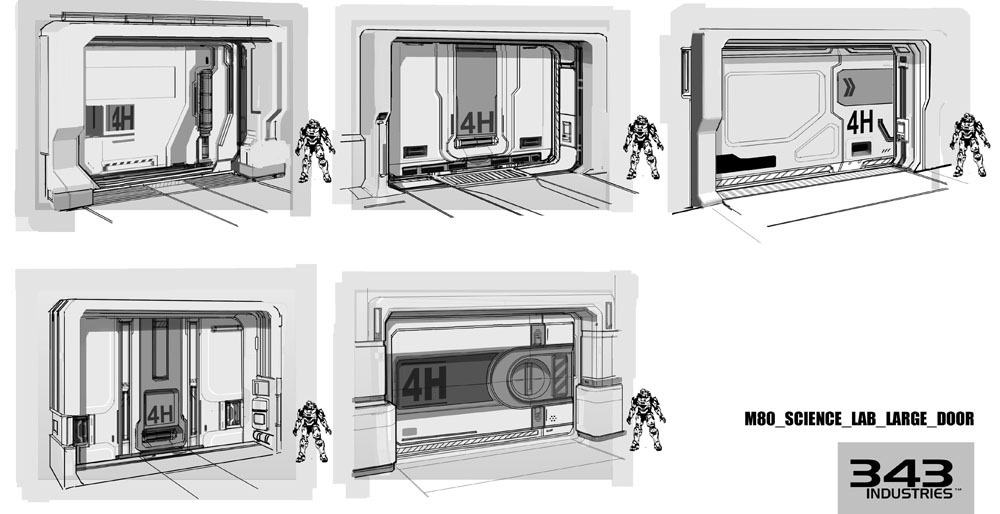 Halo 4 concept art by albert ng concept art world - Several artistic concepts for main door ...