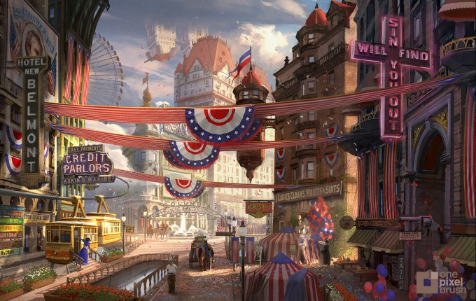Bioshock_Infinite_Town-Square_Concept_Art_OnePixelBrush