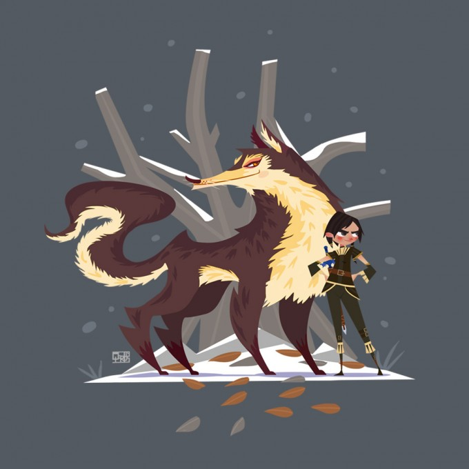 Game_of_Thrones_Concept_Art_Illustration_01_Qarlos_Quintero_Arya_Stark_Nymeria