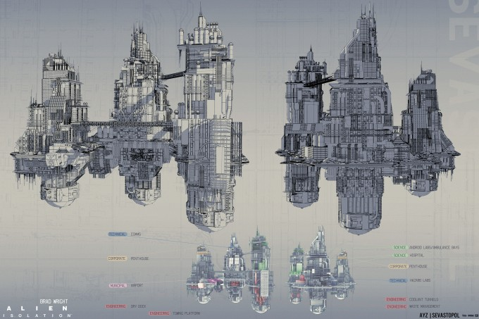 Alien_Isolation_Concept_Art_BW_spacestation_lineart_01a