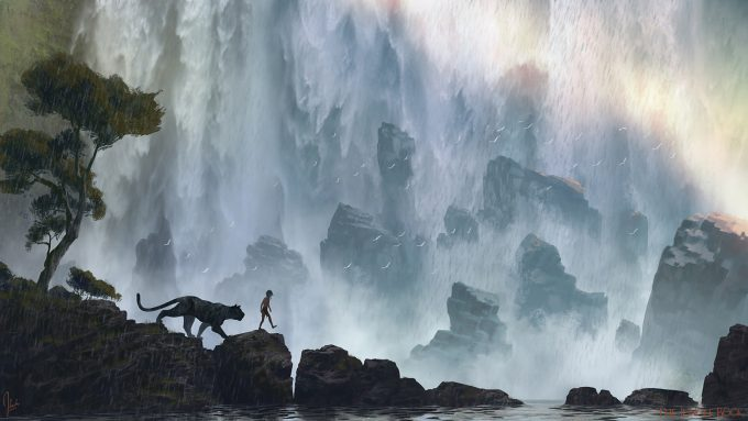 The_Jungle_Book_Concept_Art_JB10_Waterfall_KhanStoryWalk_Bagheera_Mowgli_Sketch_1