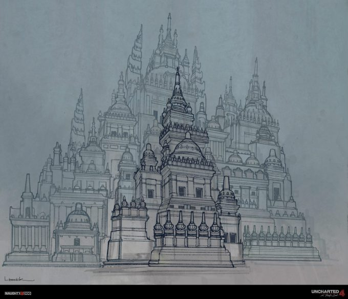 Uncharted 4 concept art temple sketch
