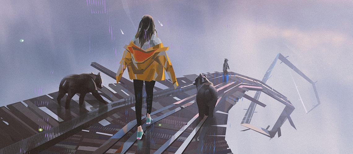 yun ling concept art illustration bear walk M01