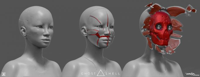 Ghost in the Shell concept art Andrew Baker Geisha Faces Open 01