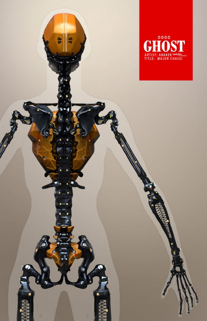 Ghost in the Shell concept art Andrew Baker Major Skeleton Frame Back View