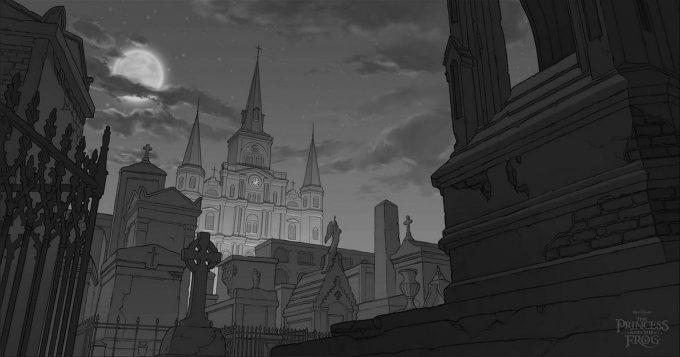 Patrick-Raines-Concept-Art-the-Princess-and-the-Frog-cemetery-tonal