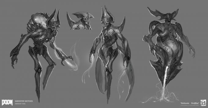 DOOM-2016-Game-Concept-Art-Emerson-Tung-ch-harvester-sketches-2