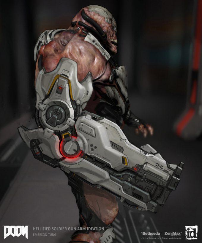 DOOM-2016-Game-Concept-Art-Emerson-Tung-ch-hellified-soldier-gunarm