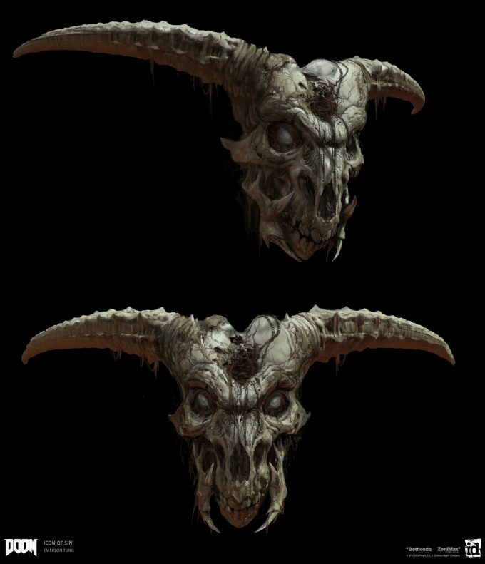 DOOM-2016-Game-Concept-Art-Emerson-Tung-giant-skull-icon-of-sin