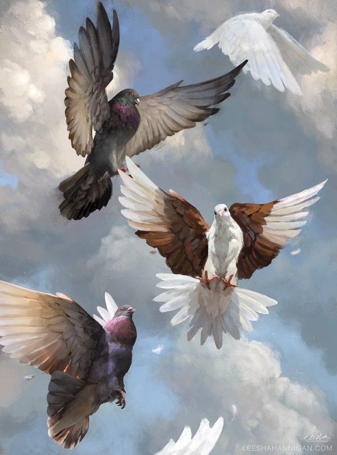 Leesha-Hannigan-Art-Doves-In-Flight