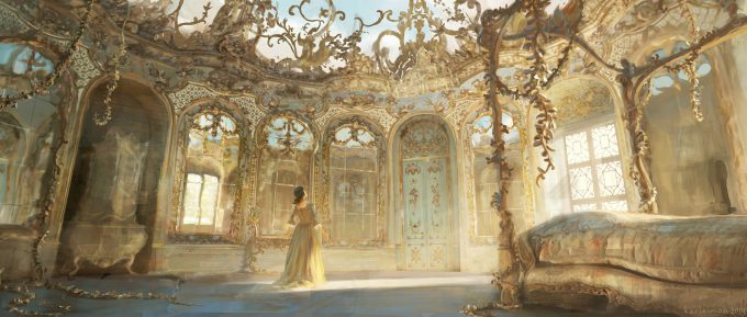 Beauty and the Beast Concept Art Disney Karlsimon Belles bedroom wide L