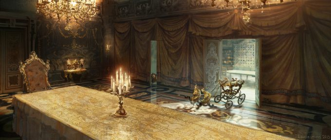 Beauty and the Beast Concept Art Disney Karlsimon Dining room curtain view L