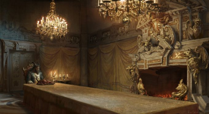 Beauty and the Beast Concept Art Disney Karlsimon Dining room fireplace view L