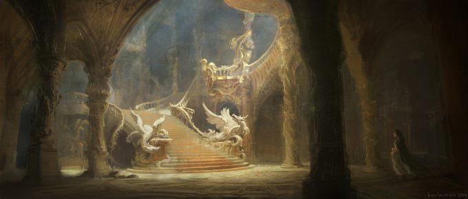 Beauty and the Beast Concept Art Disney Karlsimon Entrance hall dragons L