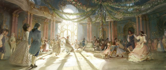 Beauty and the Beast Concept Art Disney Karlsimon ballroom summer party 01 L