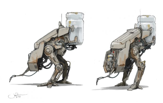 Star Wars Rogue One Concept Art Jake Lunt Agricultural Droid