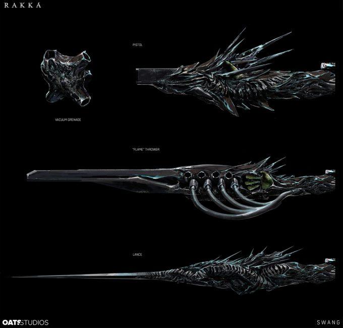 Rakka concept art development alien weapon design oats studios 01