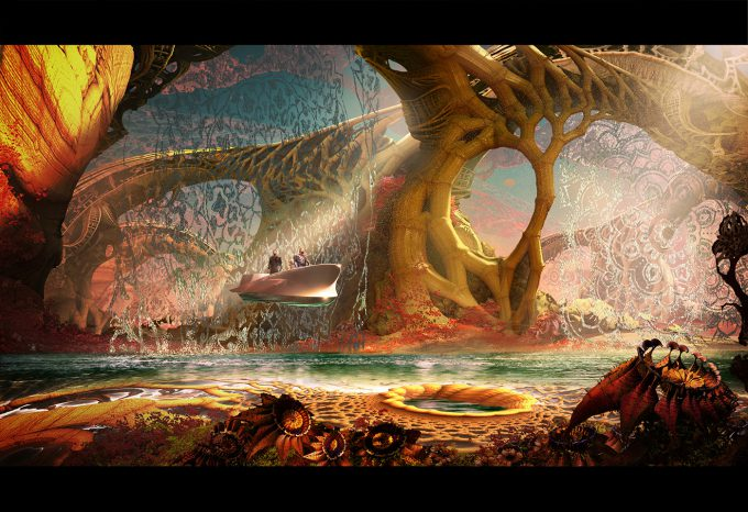 guardians of the galaxy vol 2 concept art JB 1232 Vfx JsonLandscapeEXT 160117 WaterFeature Sketch 1