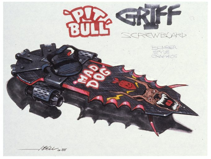 Back to the Future Part 2 concept art illustration John Bell Studio Griff hoverboard