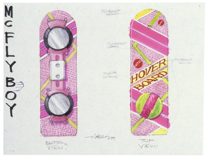 Back to the Future Part 2 concept art illustration John Bell Studio Marty hoverboard 2
