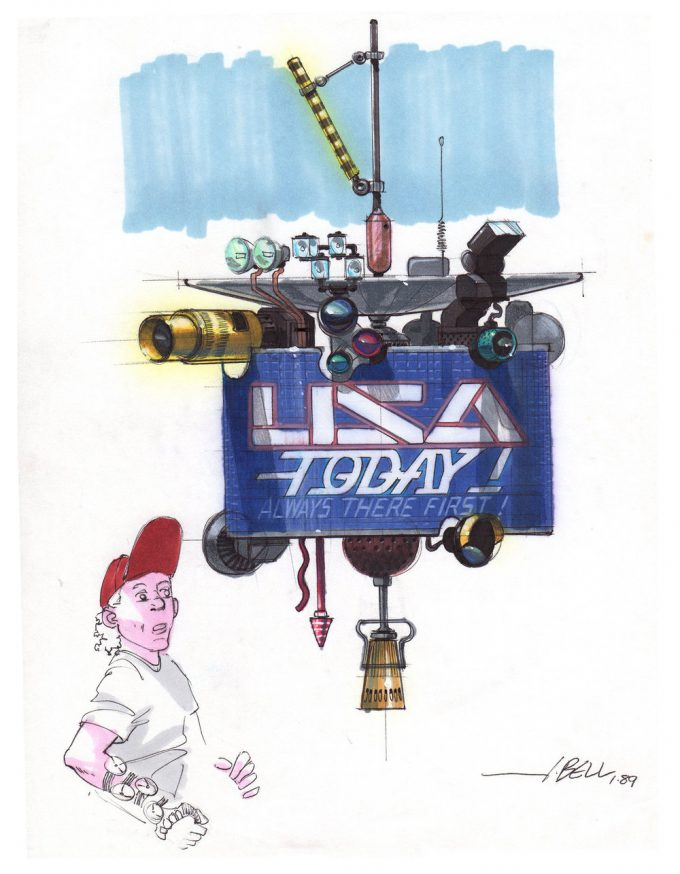 Back to the Future Part 2 concept art illustration John Bell Studio USA today