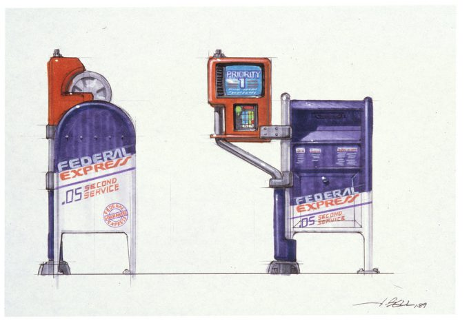 Back to the Future Part 2 concept art illustration John Bell Studio mailbox