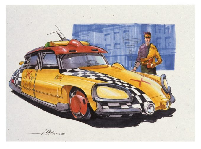 Back to the Future Part 2 concept art illustration John Bell Studio taxi 1