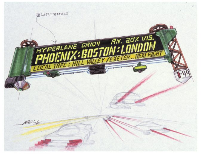 Back to the Future Part 2 concept art illustration John Bell Studio traffic board