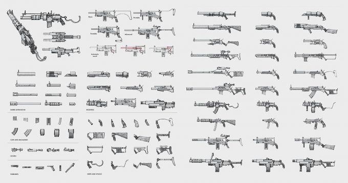 Fallout 4 concept art IN guns weapons