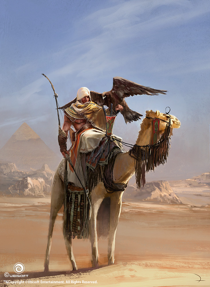 Assassins Creed Origins Concept Art Martin Deschambault Aco Bayek Dromedary Concept Art World