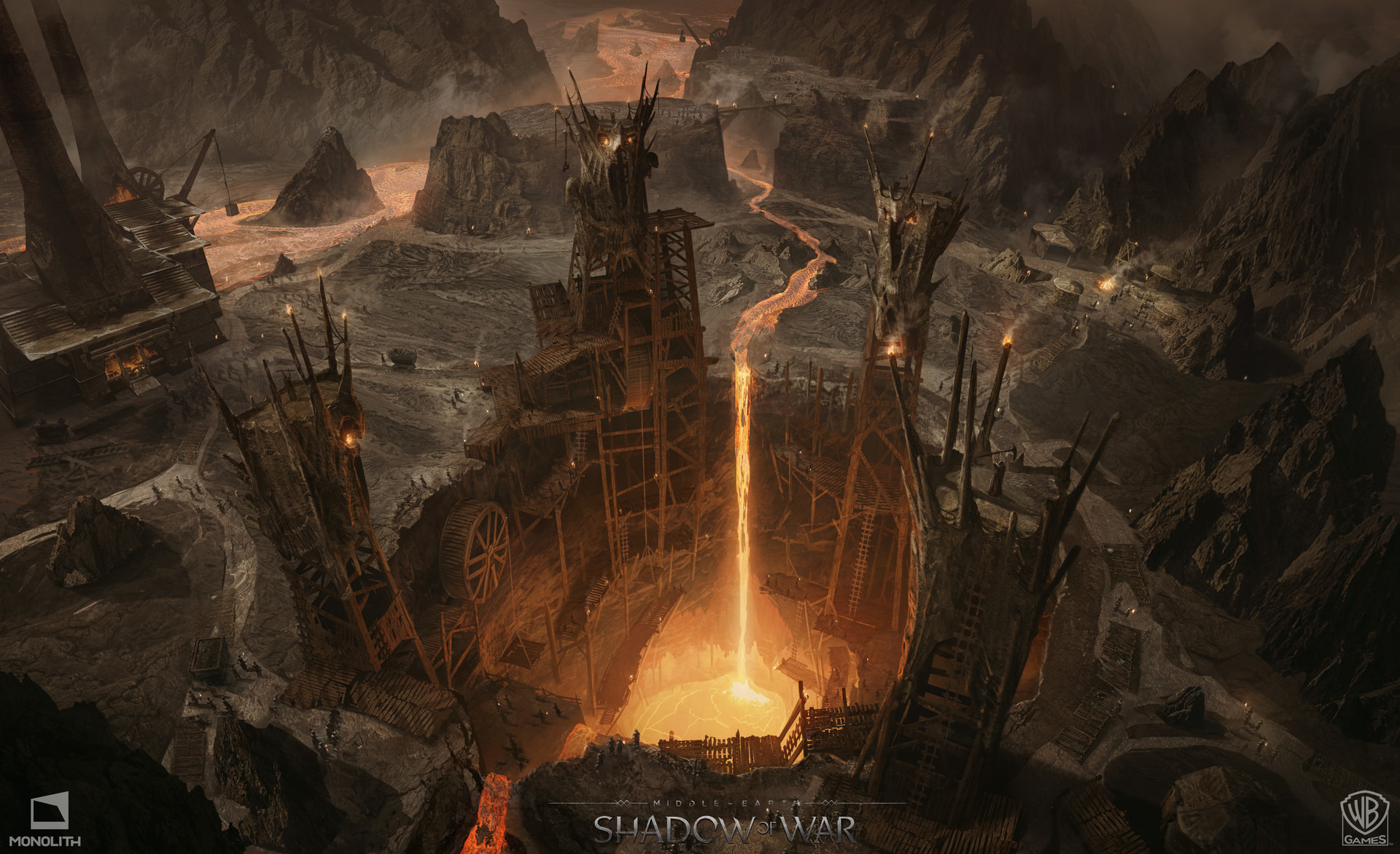 Middle Earth Shadow Of War Concept Art George Rushing Balrog Pit