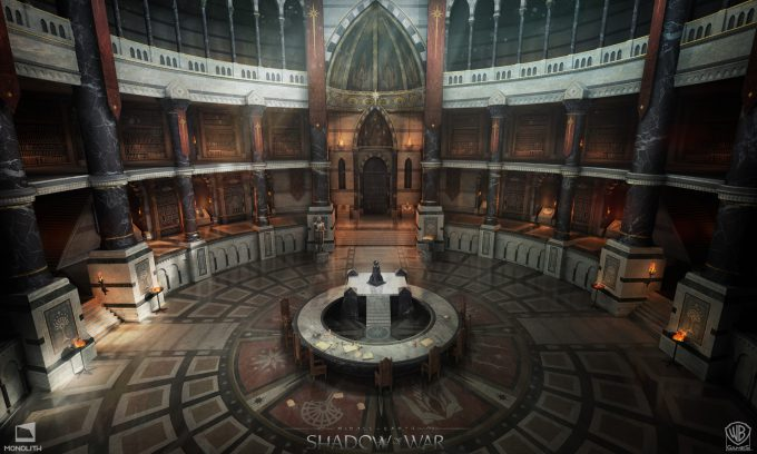 Middle earth Shadow of War Concept Art george rushing great hall