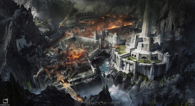 Middle earth Shadow of War Concept Art george rushing minas destructionlayout day l