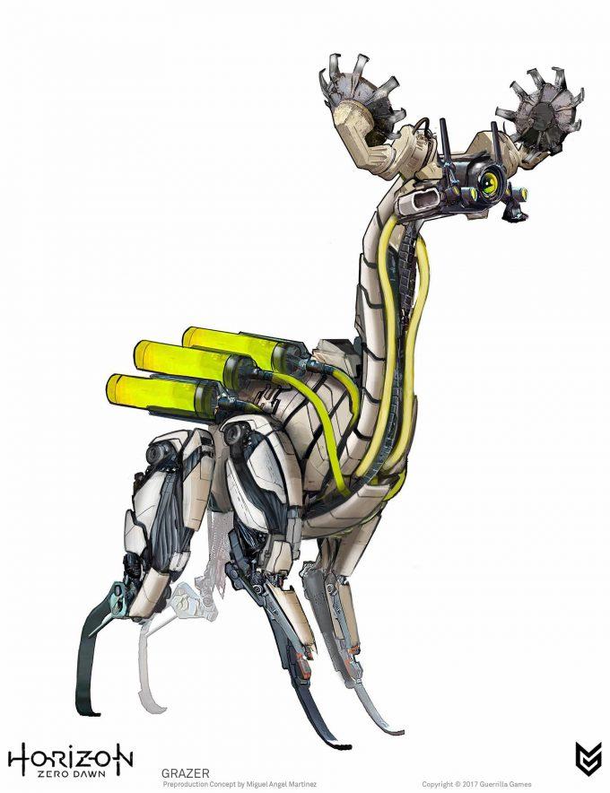 Horizon Zero Dawn Concept Art Grazer robot Miguel Angel Martinez