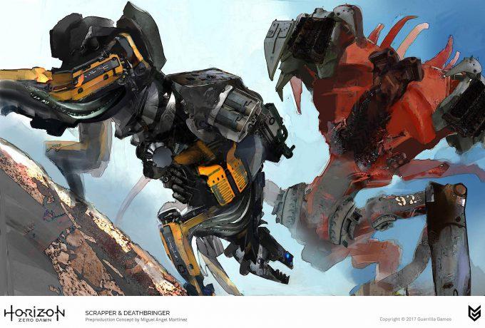 Horizon Zero Dawn Concept Art Scrapper Deathbringer robot Miguel Angel Martinez