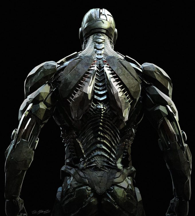 Justice League Concept Art Jerad Marantz Cyborg Back CU pass 5