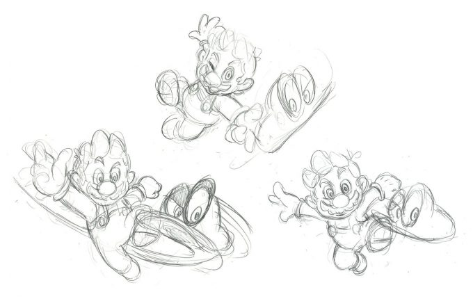 Nintendo Super Mario Odyssey Concept Art Sketches Mario and Cappy