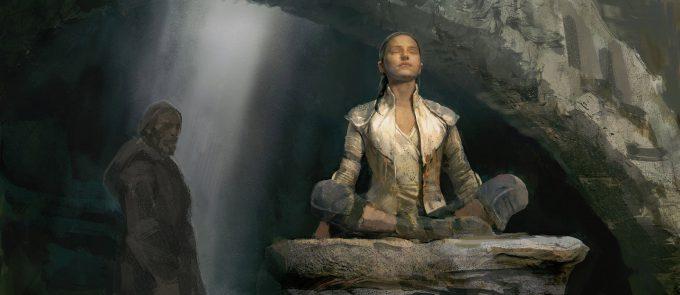 Star Wars The Last Jedi concept art justin sweet Rey Meditate 01