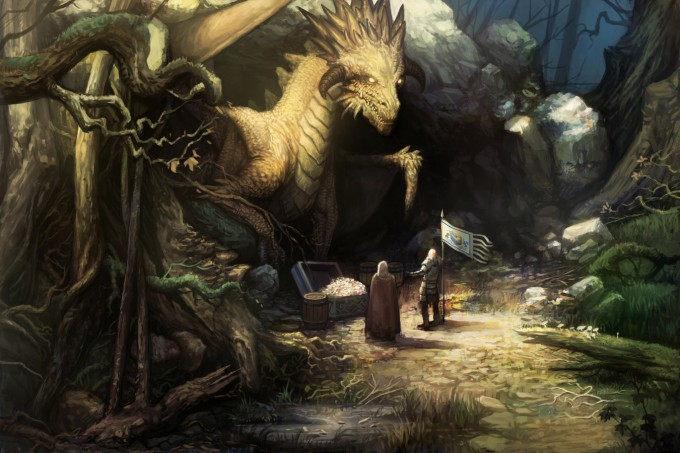 Concept_Art_House_Copper_Dragon_Bargaining_with_a_Knight