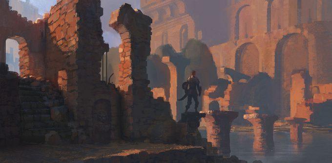 Pierre Etienne Travers Concept Art red ruins