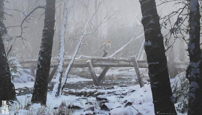 The Last of Us Concept Art Maciej Kuciara 02 Lakeside Bridge Storm
