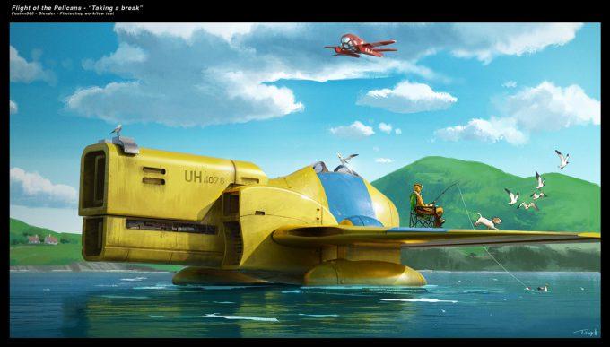 Tony Holmsten Concept Art flight of the pelicans fishing break