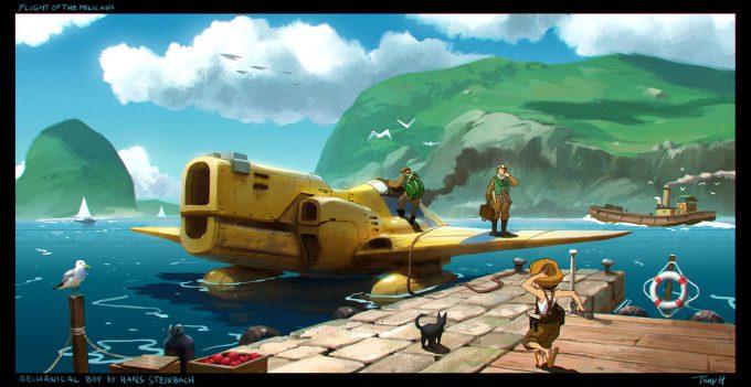 Tony Holmsten Concept Art flight of the pelicans harbour