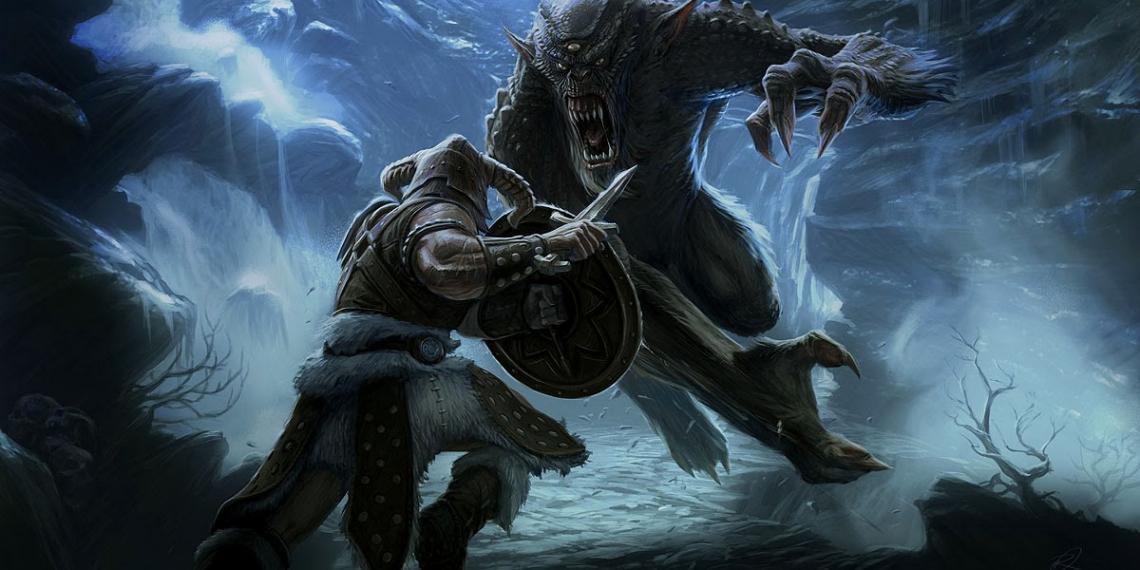Elder Scrolls V Skyrim Concept Art Ray Lederer Troll Fight