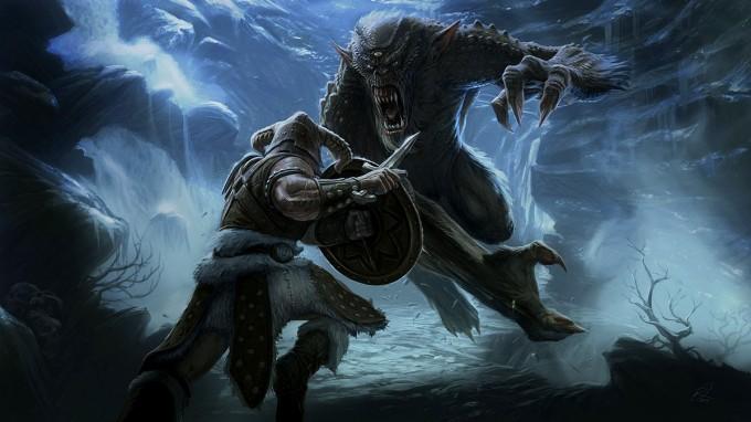 Elder_Scrolls_V-Skyrim_Concept_Art_Ray_Lederer_Troll_Fight