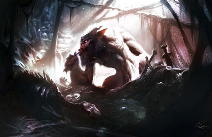 Elder_Scrolls_V-Skyrim_Concept_Art_Ray_Lederer_Troll_Lair