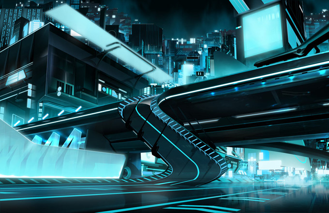 Tron: Uprising Concept and Background Painting by Darren Bacon