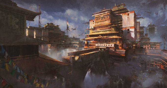 donglu yu concept art fantasy tibetan town